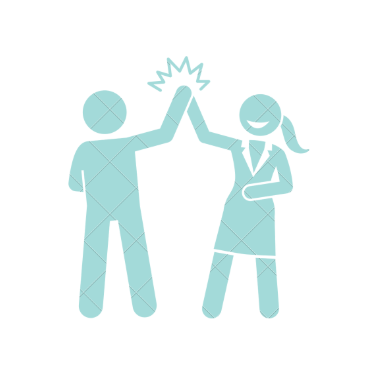 Two people high five image