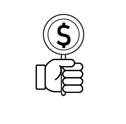 Hand holding a lollipop with money sign on it